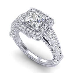 2.53 CTW Princess VS/SI Diamond Solitaire Art Deco Ring 18K White Gold - REF-509H3M - 37124