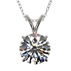 1.55 CTW Certified H-SI/I Quality Diamond Solitaire Necklace 10K White Gold - REF-322H5M - 36796