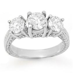 1.50 CTW Certified VS/SI Diamond 3 Stone Ring 18K White Gold - REF-255H3M - 13375