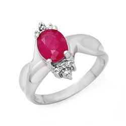 1.83 CTW Ruby & Diamond Ring 18K White Gold - REF-44K9W - 13930