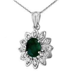 1.55 CTW Emerald & Diamond Pendant 14K White Gold - REF-41W8H - 13790