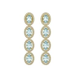 4.68 CTW Aquamarine & Diamond Earrings Yellow Gold 10K Yellow Gold - REF-115A6V - 40528