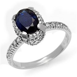 2.20 CTW Blue Sapphire & Diamond Ring 14K White Gold - REF-54H5M - 13474