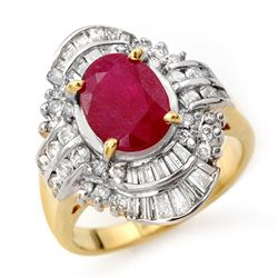 4.58 CTW Ruby & Diamond Ring 14K Yellow Gold - REF-116F9N - 13088