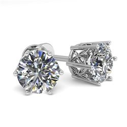 1.50 CTW Certified VS/SI Diamond Stud Solitaire Earrings 18K White Gold - REF-298V7Y - 35838