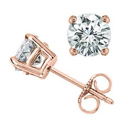 1.0 CTW Certified VS/SI Diamond Solitaire Stud Earrings 18K Rose Gold - REF-145R3K - 12801