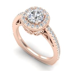 1.55 CTW VS/SI Diamond Solitaire Art Deco Ring 18K Rose Gold - REF-263X6R - 37116