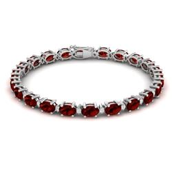 25.8 CTW Garnet & VS/SI Certified Diamond Eternity Bracelet 10K White Gold - REF-119F3N - 29452