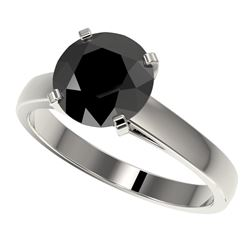 2.59 CTW Fancy Black VS Diamond Solitaire Engagement Ring 10K White Gold - REF-55Y5X - 36563