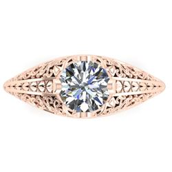 1 CTW Solitaire Certified VS/SI Diamond Ring 14K Rose Gold - REF-277N2A - 38524