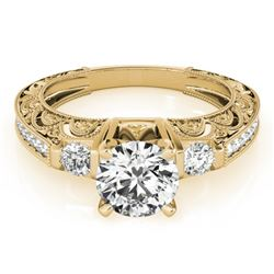 0.91 CTW Certified VS/SI Diamond Solitaire Antique Ring 18K Yellow Gold - REF-134W5H - 27278