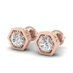 1.07 CTW VS/SI Diamond Solitaire Art Deco Stud Earrings 18K Rose Gold - REF-190V9Y - 36900