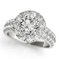 1.52 CTW Certified VS/SI Diamond Solitaire Halo Ring 18K White Gold - REF-179A3V - 26434