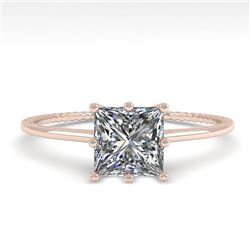 1.0 CTW VS/SI Princess Diamond Solitaire Engagement Ring Size 7 18K Rose Gold - REF-287H4M - 35894