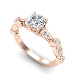 1.03 CTW VS/SI Diamond Solitaire Art Deco Ring 18K Rose Gold - REF-203W6H - 36972