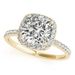 0.75 CTW Certified VS/SI Cushion Diamond Solitaire Halo Ring 18K Yellow Gold - REF-136F4N - 27206