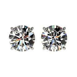 1.59 CTW Certified H-SI/I Quality Diamond Solitaire Stud Earrings 10K White Gold - REF-183Y2X - 3660