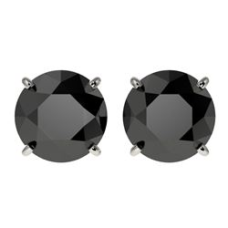 3.18 CTW Fancy Black VS Diamond Solitaire Stud Earrings 10K White Gold - REF-66W7H - 36697
