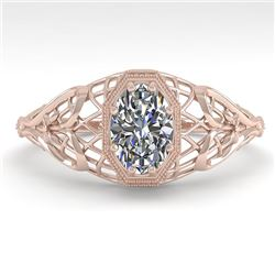 0.50 CTW VS/SI Oval Diamond Solitaire Engagement Ring Deco Size 7 18K Rose Gold - REF-104V7Y - 36020