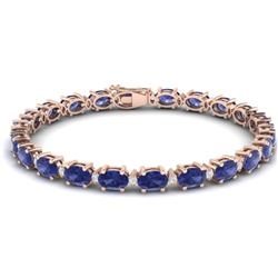 19.7 CTW Tanzanite & VS/SI Certified Diamond Eternity Bracelet 10K Rose Gold - REF-187W6H - 29380
