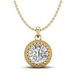 1 CTW VS/SI Diamond Solitaire Art Deco Necklace 18K Yellow Gold - REF-292W5H - 36892