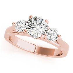 1.25 CTW Certified VS/SI Diamond 3 Stone Ring 18K Rose Gold - REF-239M3F - 28000