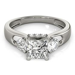 1.60 CTW Certified VS/SI Princess Cut Diamond 3 Stone Ring 18K White Gold - REF-466R9K - 28035