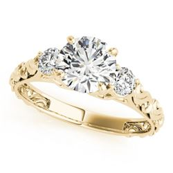 1 CTW Certified VS/SI Diamond 3 Stone Solitaire Ring 18K Yellow Gold - REF-186R4K - 28043