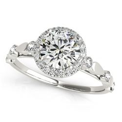 1 CTW Certified VS/SI Diamond Solitaire Halo Ring 18K White Gold - REF-185H5M - 26410