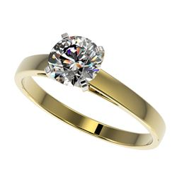 1 CTW Certified H-SI/I Quality Diamond Solitaire Engagement Ring 10K Yellow Gold - REF-199V5Y - 3298