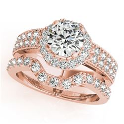 1.69 CTW Certified VS/SI Diamond 2Pc Wedding Set Solitaire Halo 14K Rose Gold - REF-409F5N - 31326
