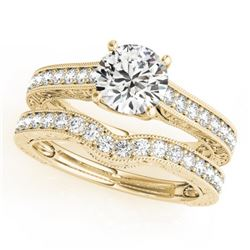 1.67 CTW Certified VS/SI Diamond Solitaire 2Pc Wedding Set 14K Yellow Gold - REF-388F2N - 31672