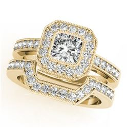1.05 CTW Certified VS/SI Cushion Diamond 2Pc Set Solitaire Halo 14K Yellow Gold - REF-170K9W - 31381