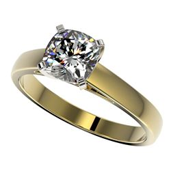 1.25 CTW Certified VS/SI Quality Cushion Cut Diamond Solitaire Ring 10K Yellow Gold - REF-372V3Y - 3