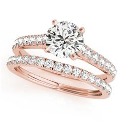 1.38 CTW Certified VS/SI Diamond Solitaire 2Pc Wedding Set 14K Rose Gold - REF-152F9N - 31698
