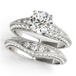1.76 CTW Certified VS/SI Diamond Solitaire 2Pc Wedding Set Antique 14K White Gold - REF-237R6K - 314