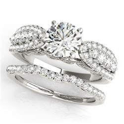 1.96 CTW Certified VS/SI Diamond Solitaire 2Pc Wedding Set 14K White Gold - REF-422A7V - 31904