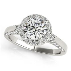 2.15 CTW Certified VS/SI Diamond Solitaire Halo Ring 18K White Gold - REF-613F5N - 26386