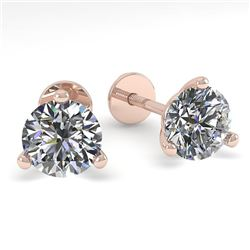 0.52 CTW Certified VS/SI Diamond Stud Earrings Martini 18K Rose Gold - REF-50Y2X - 32195