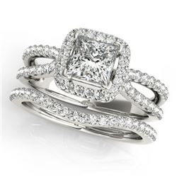 1.02 CTW Certified VS/SI Princess Diamond 2Pc Set Solitaire Halo 14K White Gold - REF-149A5V - 31340