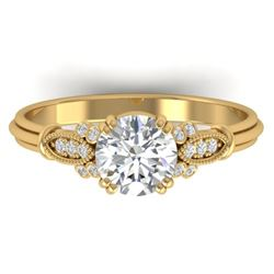 1.15 CTW Certified VS/SI Diamond Solitaire Art Deco Ring 14K Yellow Gold - REF-281F7N - 30551