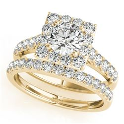 2.79 CTW Certified VS/SI Diamond 2Pc Wedding Set Solitaire Halo 14K Yellow Gold - REF-601X3R - 31192