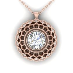 1.25 CTW Certified VS/SI Diamond Art Deco Necklace 14K Rose Gold - REF-360M4F - 30559