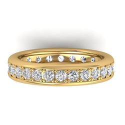 1.33 CTW Certified VS/SI Diamond Eternity Band Men's 14K Yellow Gold - REF-127W6H - 30332