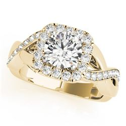 1.40 CTW Certified VS/SI Diamond Solitaire Halo Ring 18K Yellow Gold - REF-235W3H - 26190