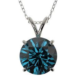 2 CTW Certified Intense Blue SI Diamond Solitaire Necklace 10K White Gold - REF-343H2M - 33236