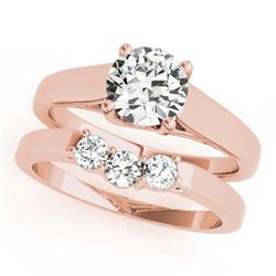 0.67 CTW Certified VS/SI Diamond 2Pc Set Solitaire Wedding 14K Rose Gold - REF-105F3N - 32106