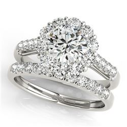 2.14 CTW Certified VS/SI Diamond 2Pc Wedding Set Solitaire Halo 14K White Gold - REF-259M5F - 30738