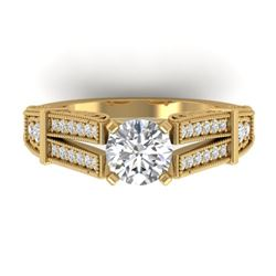 1.50 CTW Certified VS/SI Diamond Solitaire Art Deco Ring 14K Yellow Gold - REF-373N3A - 30476