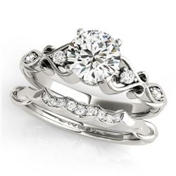 0.72 CTW Certified VS/SI Diamond Solitaire 2Pc Wedding Set Antique 14K White Gold - REF-125V5Y - 315